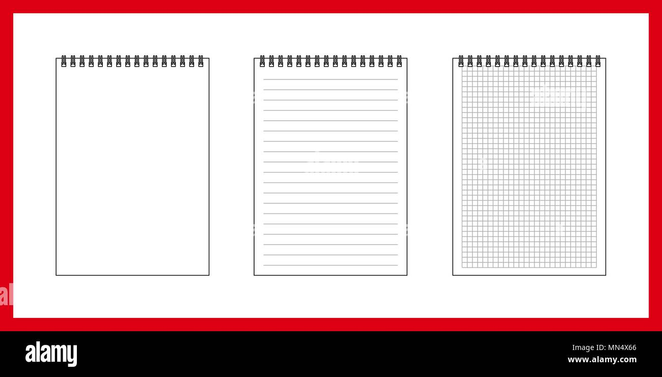 notebook is clean, in cage, in ruler. Vector variants on white background - Stock Vector