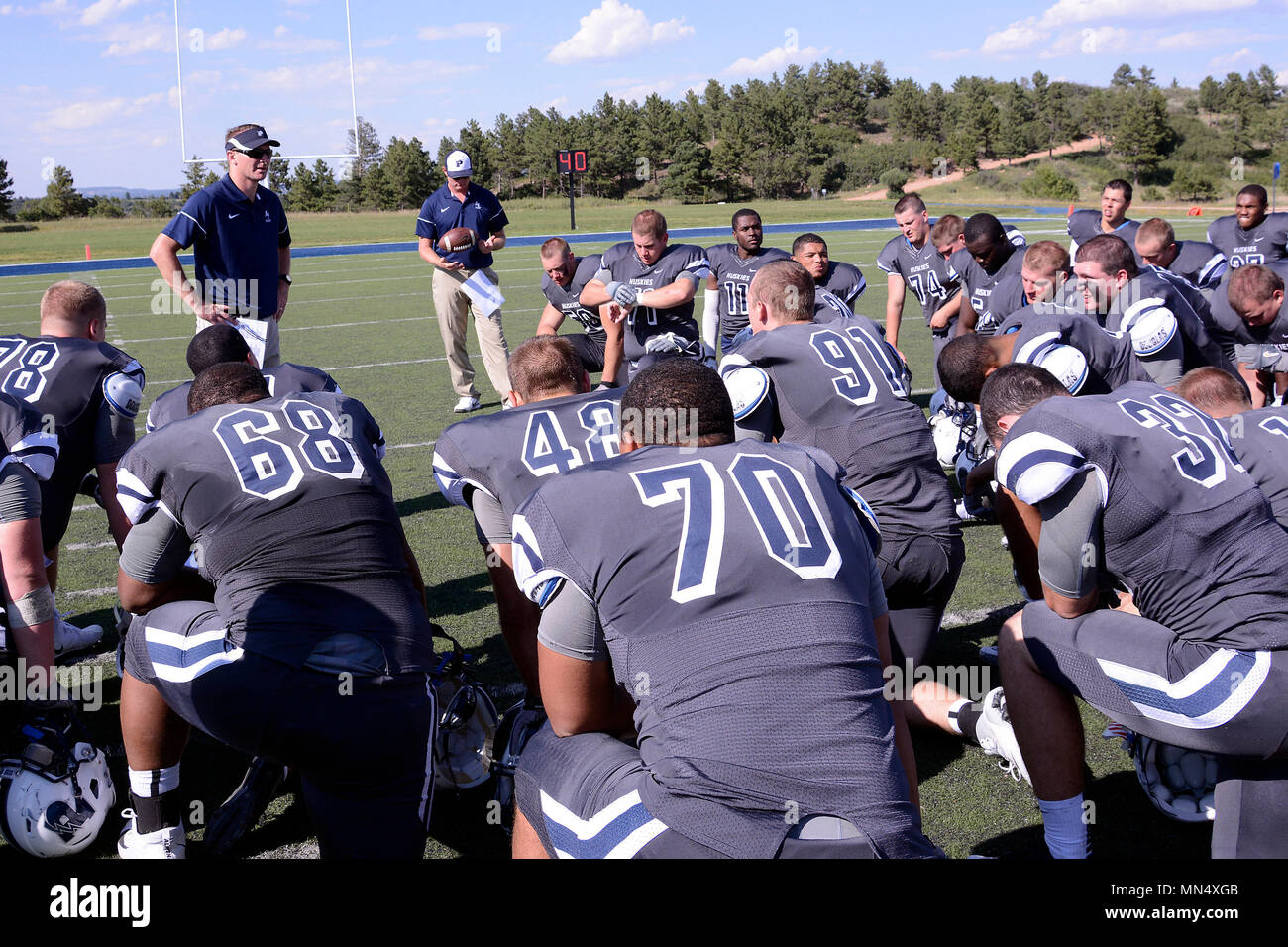 Head Coach Scott Thiessen Speaks To The U S Air Force Academy Preparatory School Huskies After They Were Defeated By The New Mexico Military Institute In Their Home Opener 41 26 At Husky Field