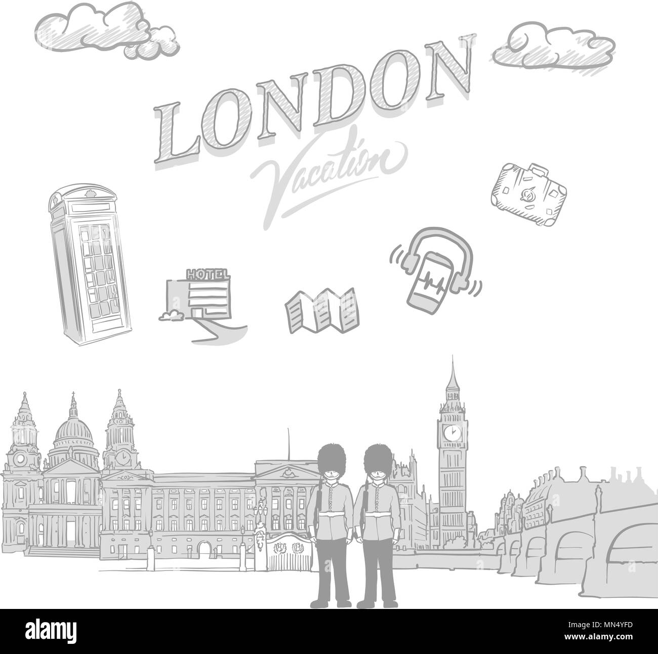 London travel marketing cover, set of hand drawn a vector sketches - Stock Image
