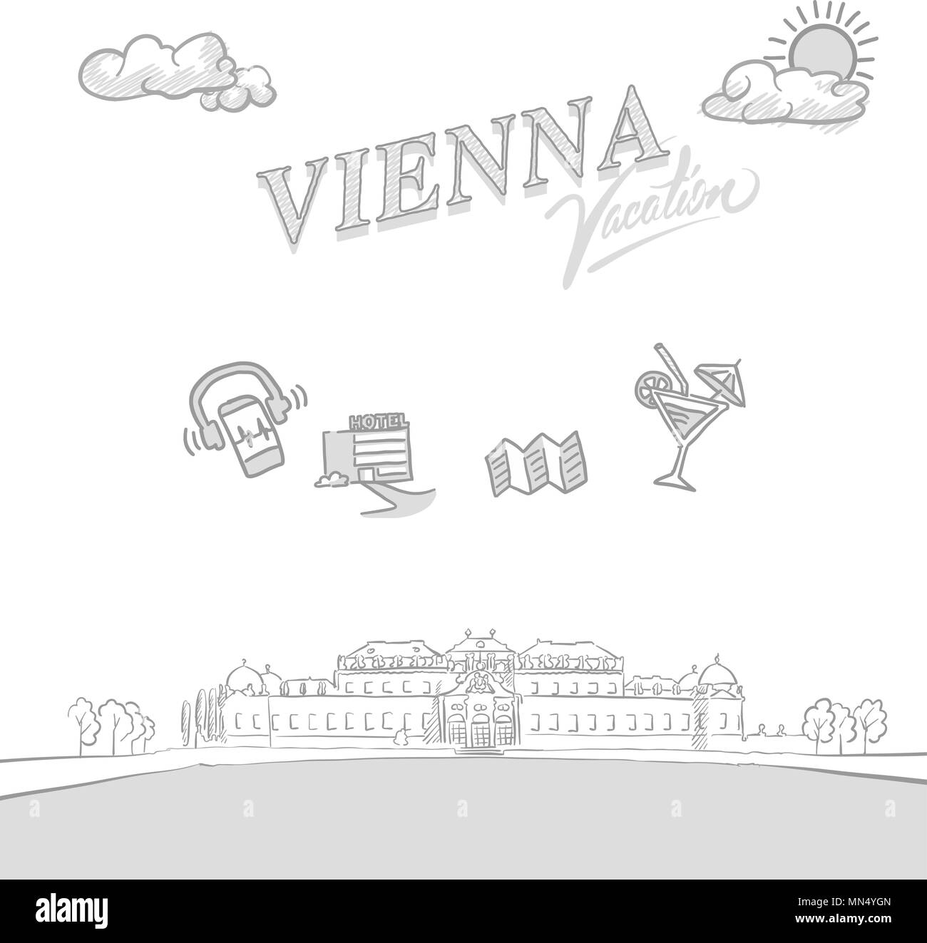 Vienna travel marketing cover, set of hand drawn a vector sketches - Stock Image