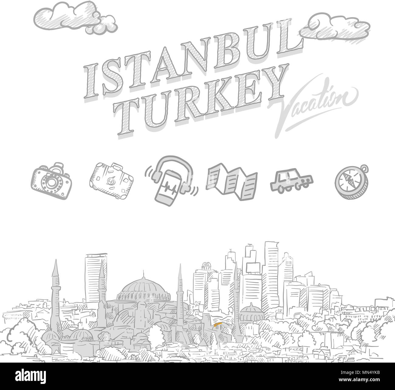 Istanbul travel marketing cover, set of hand drawn a vector sketches - Stock Image