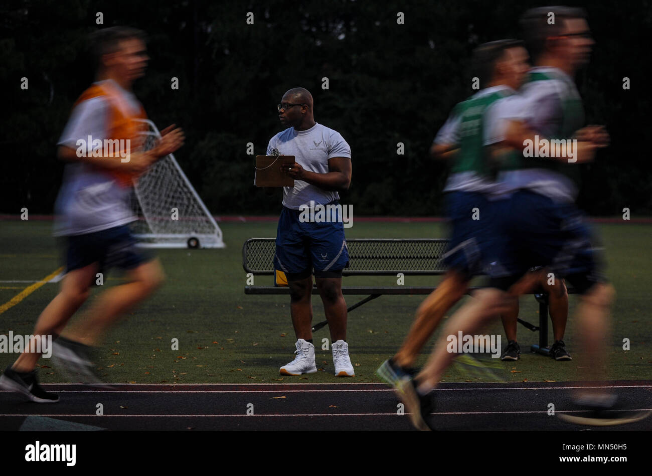 Senior Airman David Lawal, an augmentee for the Fitness Assessment