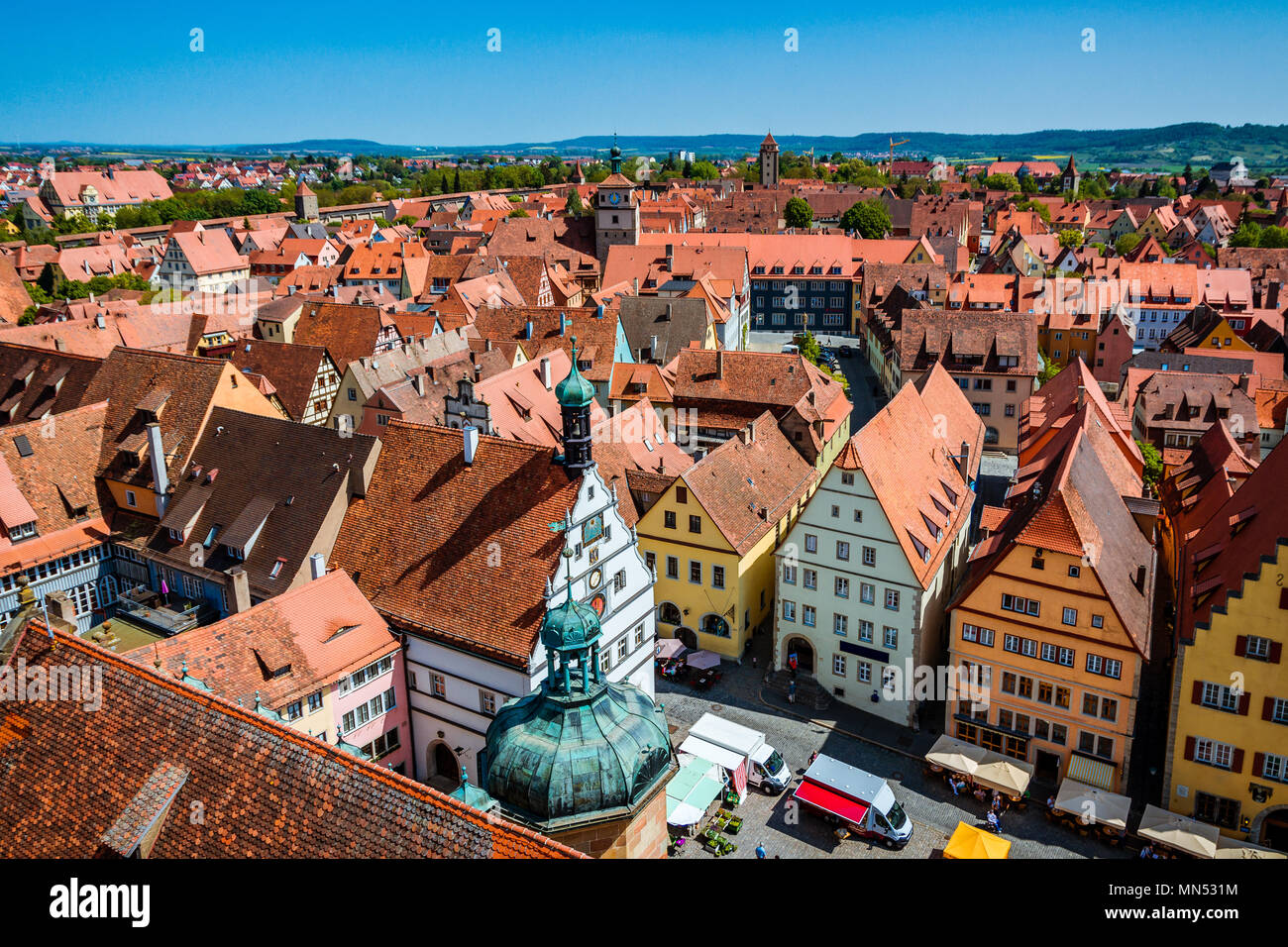 Scenic summer aerial panorama of the Old Town town in Rothenburg ob der Tauber, Bavaria, Germany - Stock Image