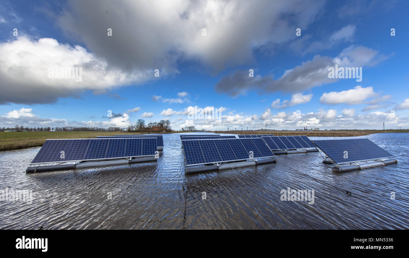 Solar farm on open water bodies can represent a serious alternative to ground mounted solar systems - Stock Image
