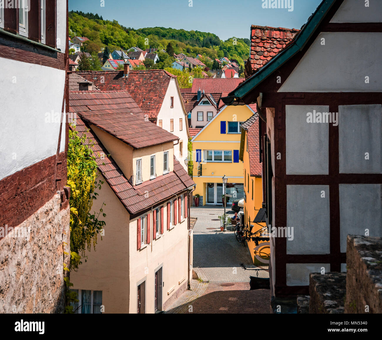 Röttingen - the town of Rottingen in the Tauber Valley along the Romantic Road, Bavaria, Germany - Stock Image