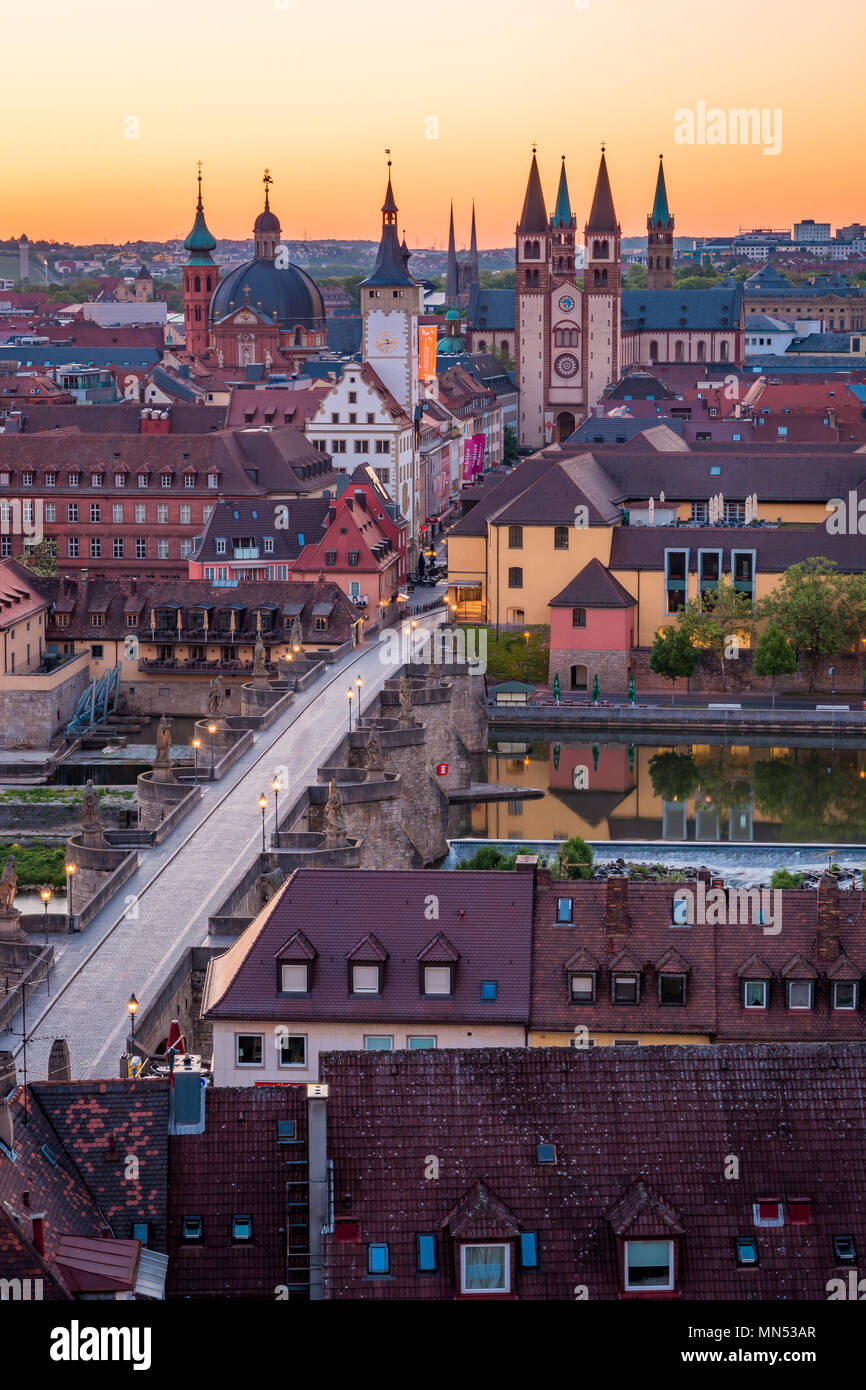 Scenic stunning summer aerial panorama cityscape of the Old Town town in Wurzburg, Bavaria, Germany - part of the Romantic Road. - Stock Image