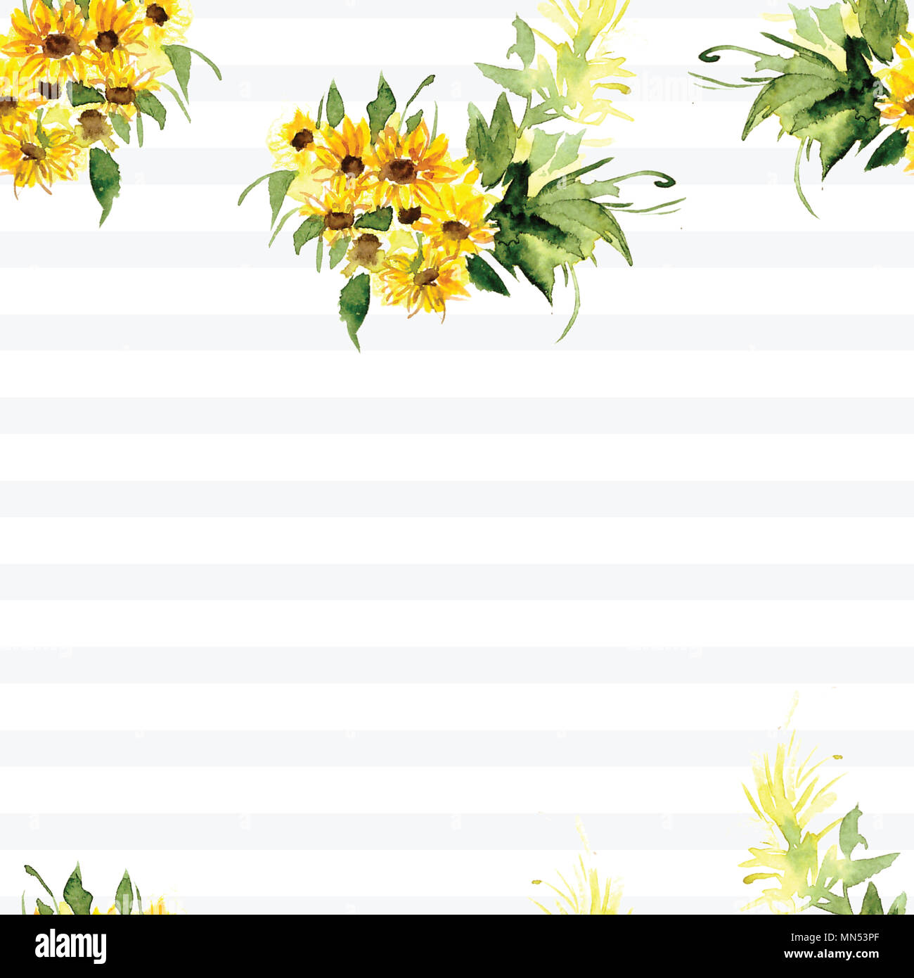 The pattern of blooming yellow flowers sunflower painted in ...