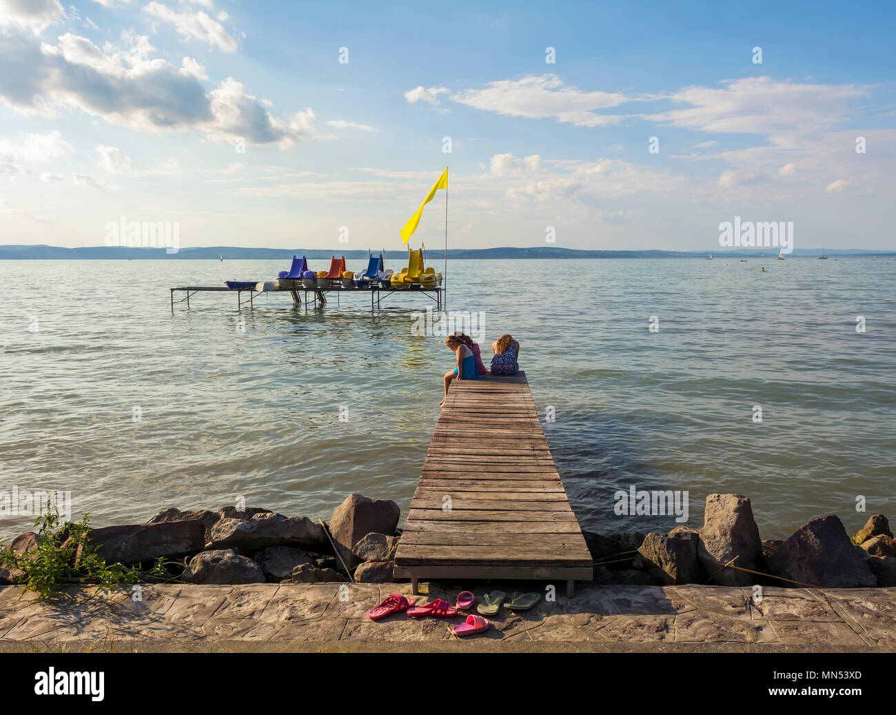 Siófok beach and the Balaton lake in late afternoon light - Stock Image