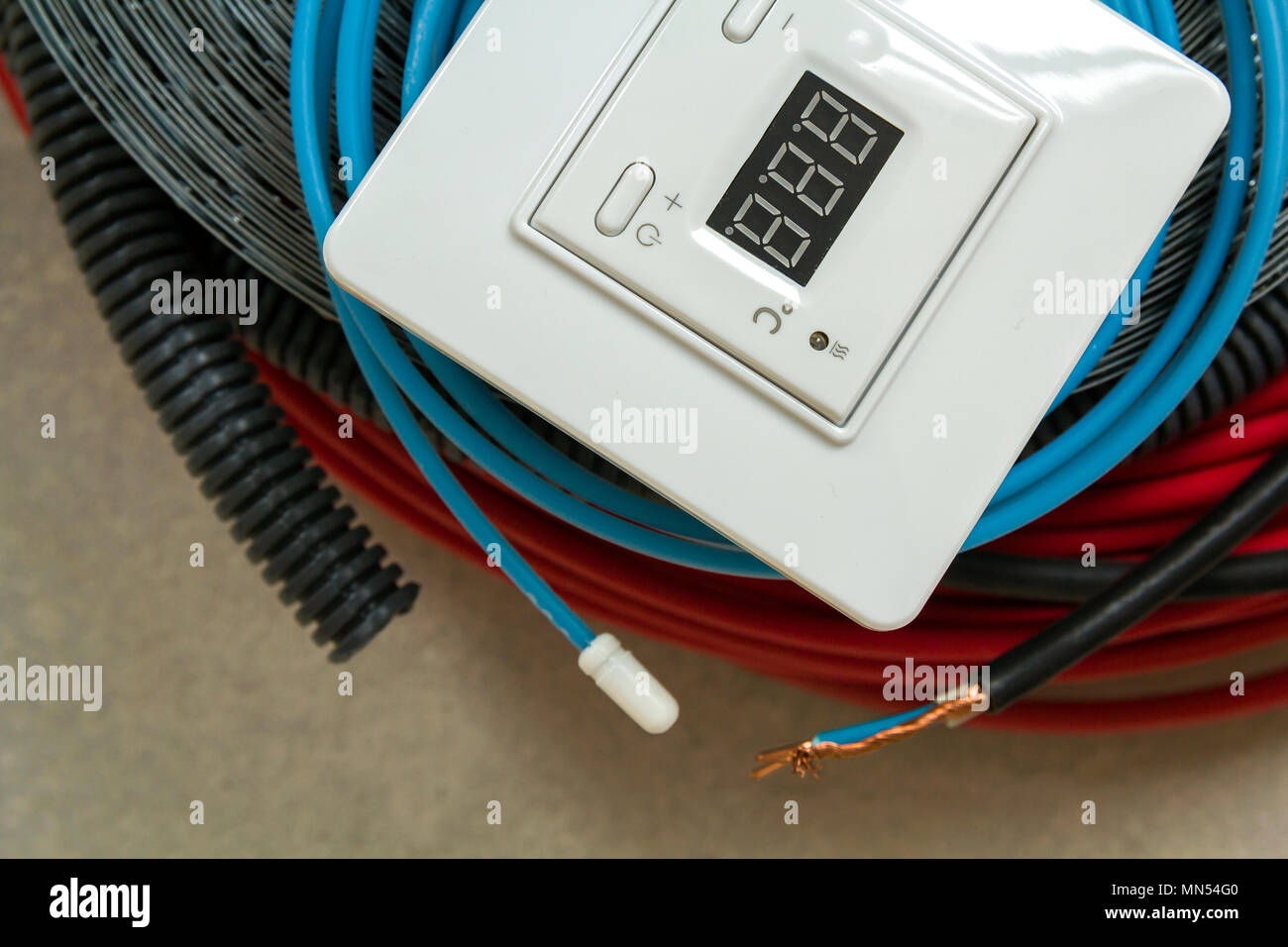 Heating Floor System Wires Cables And Control Panel Renovation Basic House Wiring Construction Concept Comfort