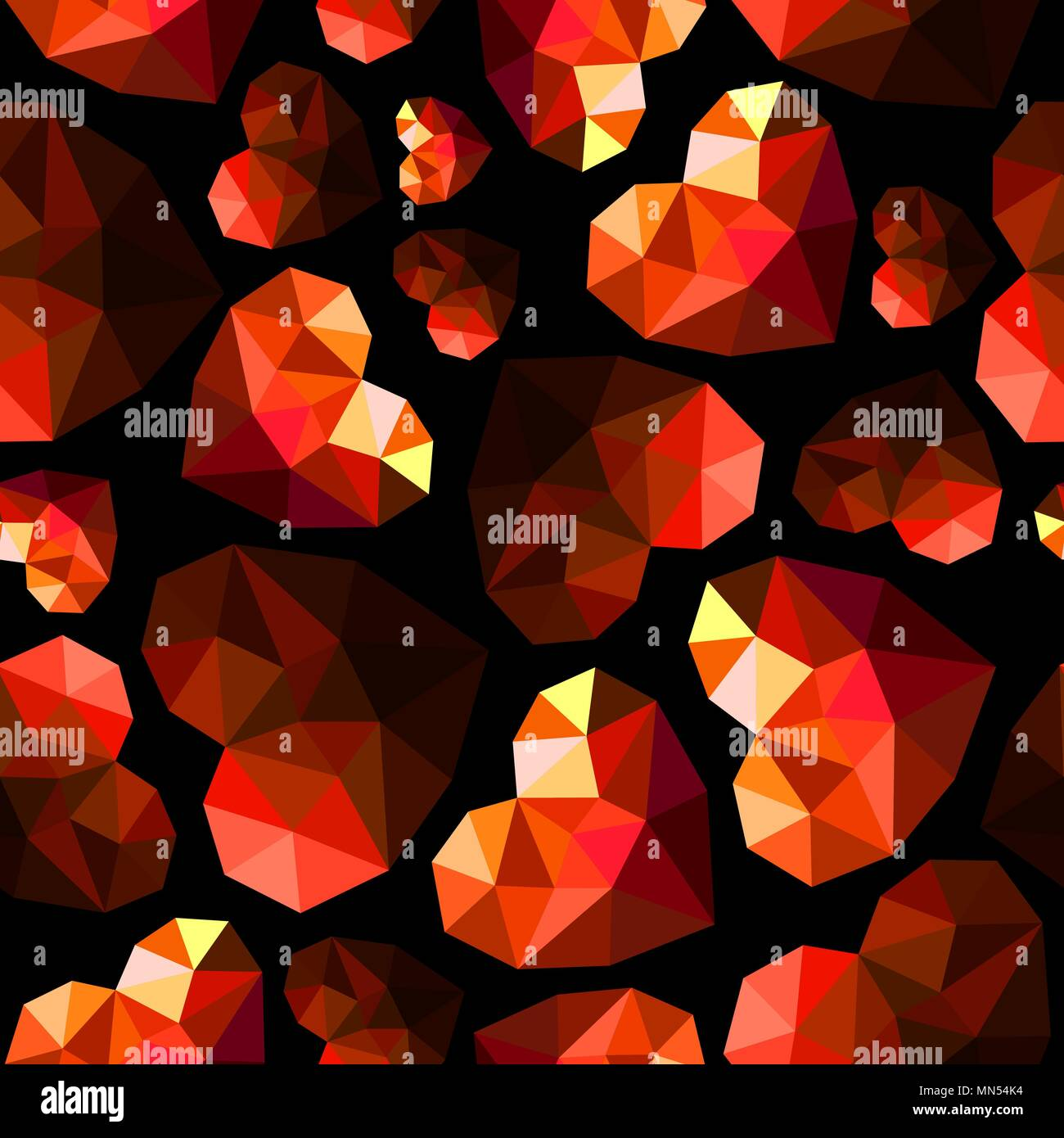 Diamond brilliant red hearts on black background as cells ...