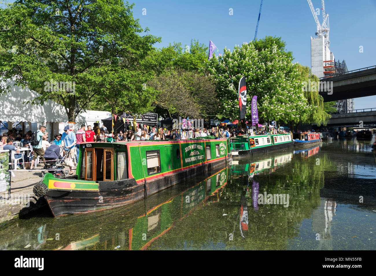 Bank Holiday weekend IWA Canalway Cavalcade waterways festival in London's Little Venice. - Stock Image