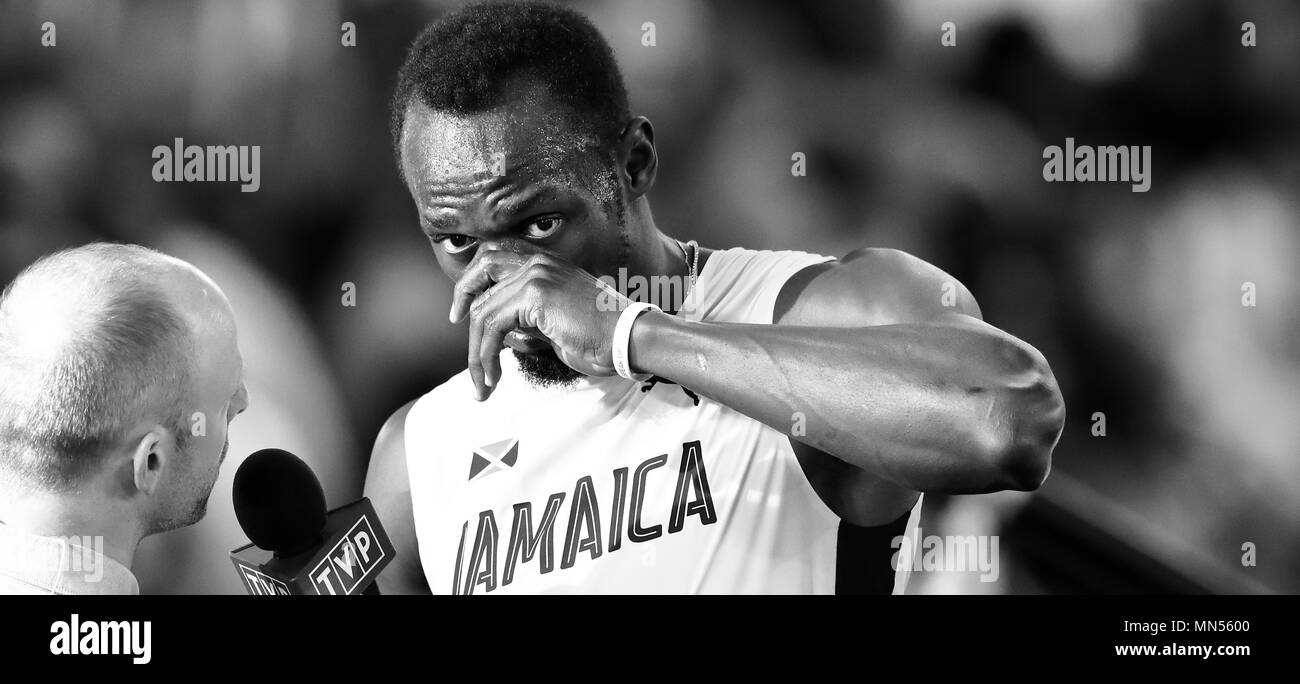 LONDON, ENGLAND - AUGUST 04: (Editors Note: Image Converted to Black and White) Usain Bolt of Jamaica  reacts during Heat 6 of Round 1 of the Men's 100 Metres during day one of the 17th IAAF World Athletics Championships London 2017 at The London Stadium on August 4, 2017 in London, United Kingdom. Photo by Paul Cunningham - Stock Image