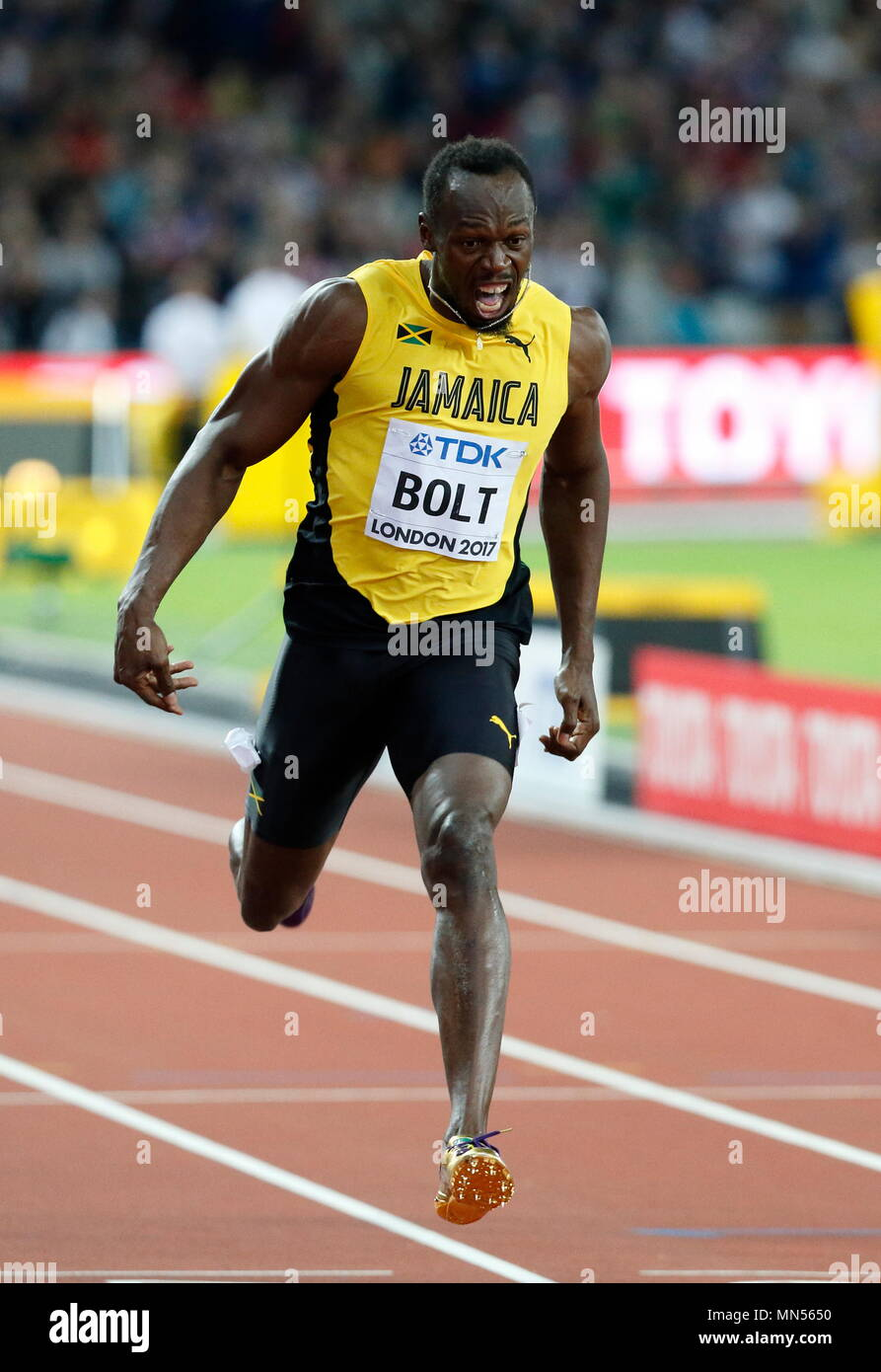 LONDON, ENGLAND - AUGUST 05: Usain Bolt of Jamaica  running in lane 4 of the Mens 100m Final reaches for the finish line during day two of the 16th IAAF World Athletics Championships London 2017 at The London Stadium on August 5, 2017 in London, United Kingdom. Photo by Paul Cunningham - Stock Image