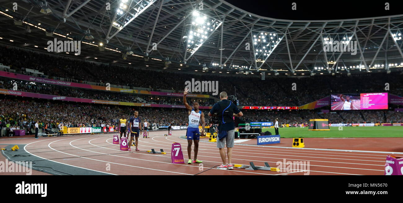 LONDON, ENGLAND - AUGUST 12: Chijindu Ujah in leg one of the Men's 4x100m relay final during day nine of the 16th IAAF World Athletics Championships London 2017 at The London Stadium on August 12, 2017 in London, United Kingdom --- Image by © Paul Cunningham - Stock Image