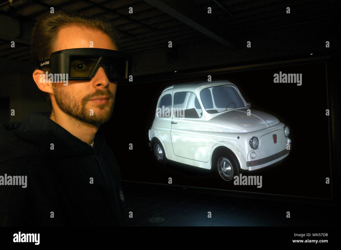 University of Milan - Bovisa Italy), department of Design, laboratory of Virtual Models, three-dimensional projection of a Fiat 500 car - Stock Image