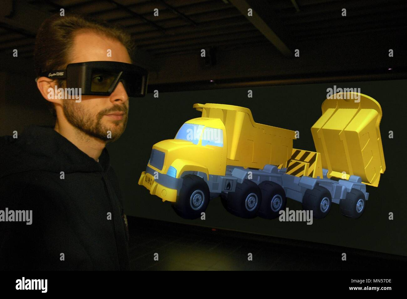 University of Milan - Bovisa (Italy), department of Design, laboratory of Virtual Models, three-dimensional projection of a truck Stock Photo