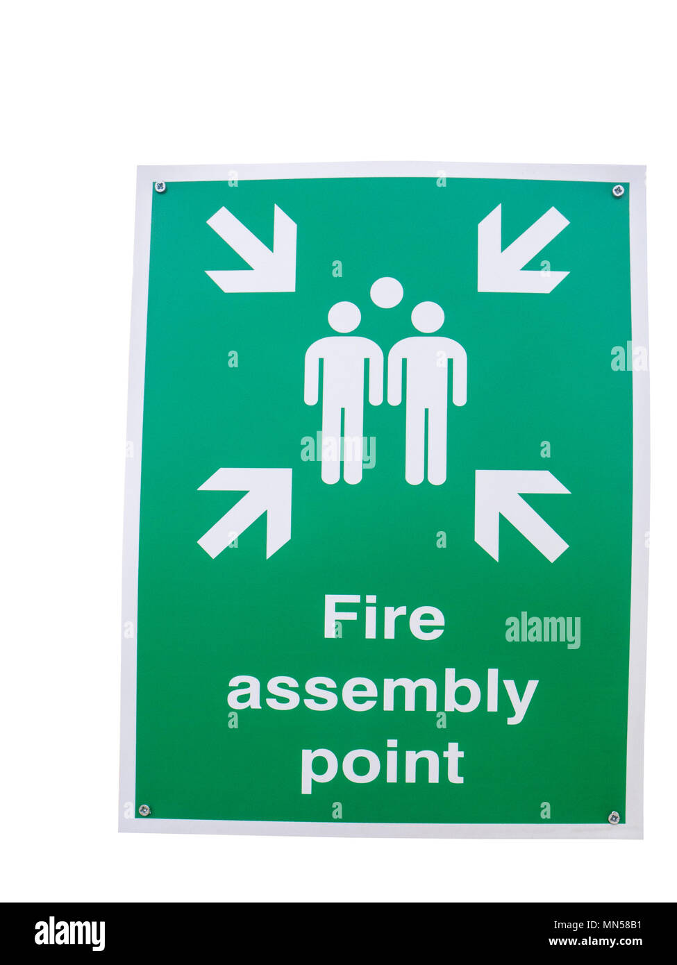 Cut out of a Fire assembly point banner - Stock Image