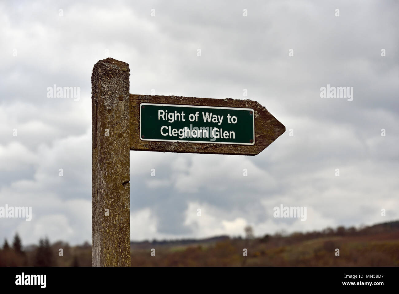 Signpost, Right of Way to Cleghorn Glen, Clyde Valley Woodlands National Nature Reserve, Lanarkshire, Scotland, United Kingdom, Europe. - Stock Image