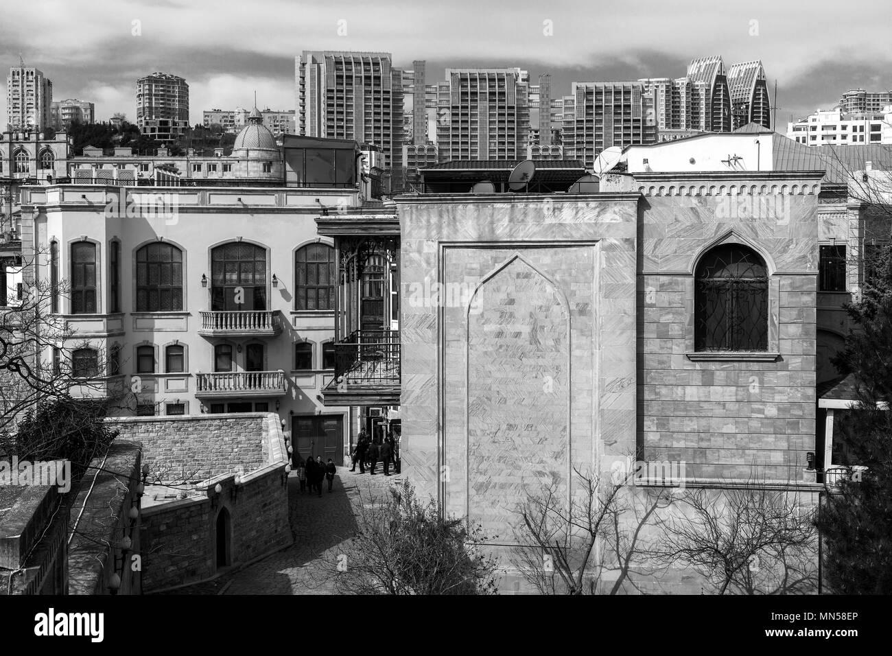 View of Baku old town and new buildings. Baku, Azerbaijan, march 2018. - Stock Image