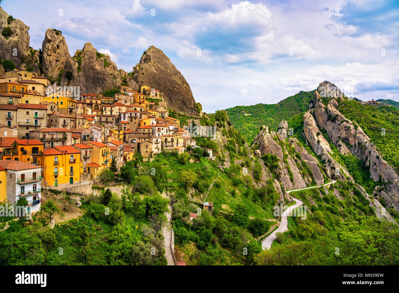 Castelmezzano village in Apennines Dolomiti Lucane. Basilicata, Italy. Stock Photo