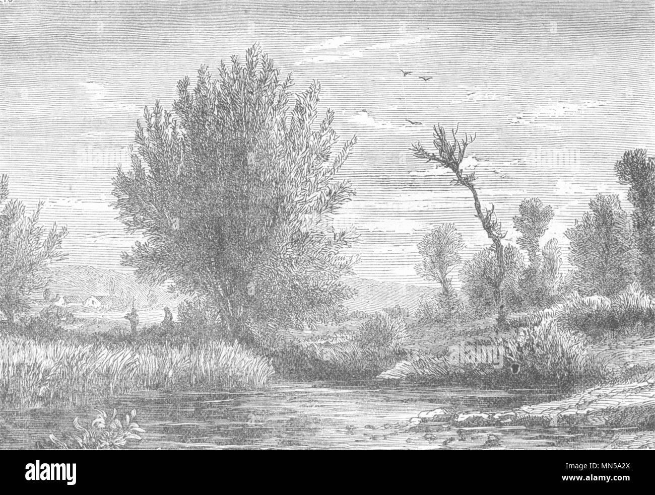 SEINE-MARITIME. Le Havre. Paysage aux area de Montivilliers 1880 old print - Stock Image