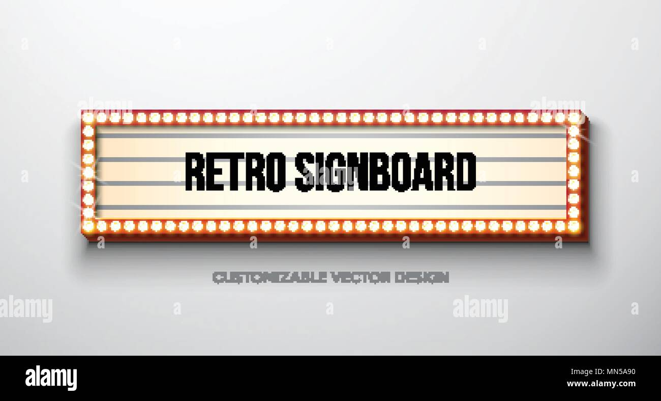 Vector Retro Signboard Or Lightbox Illustration With
