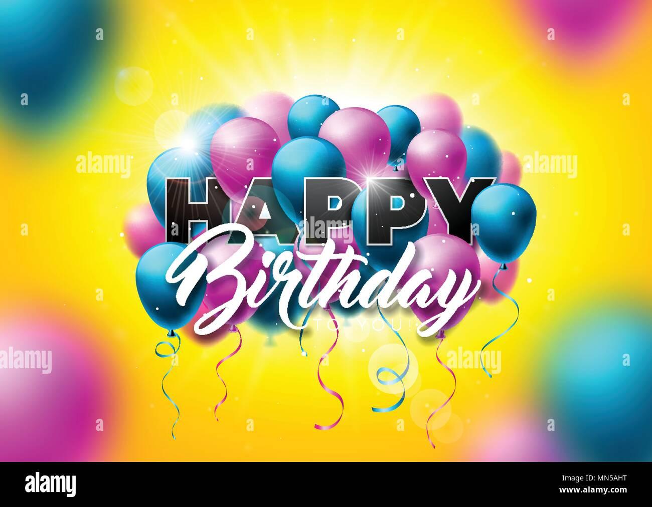 Happy Birthday Design Vector ~ Happy birthday greeting card background vector illustration stock