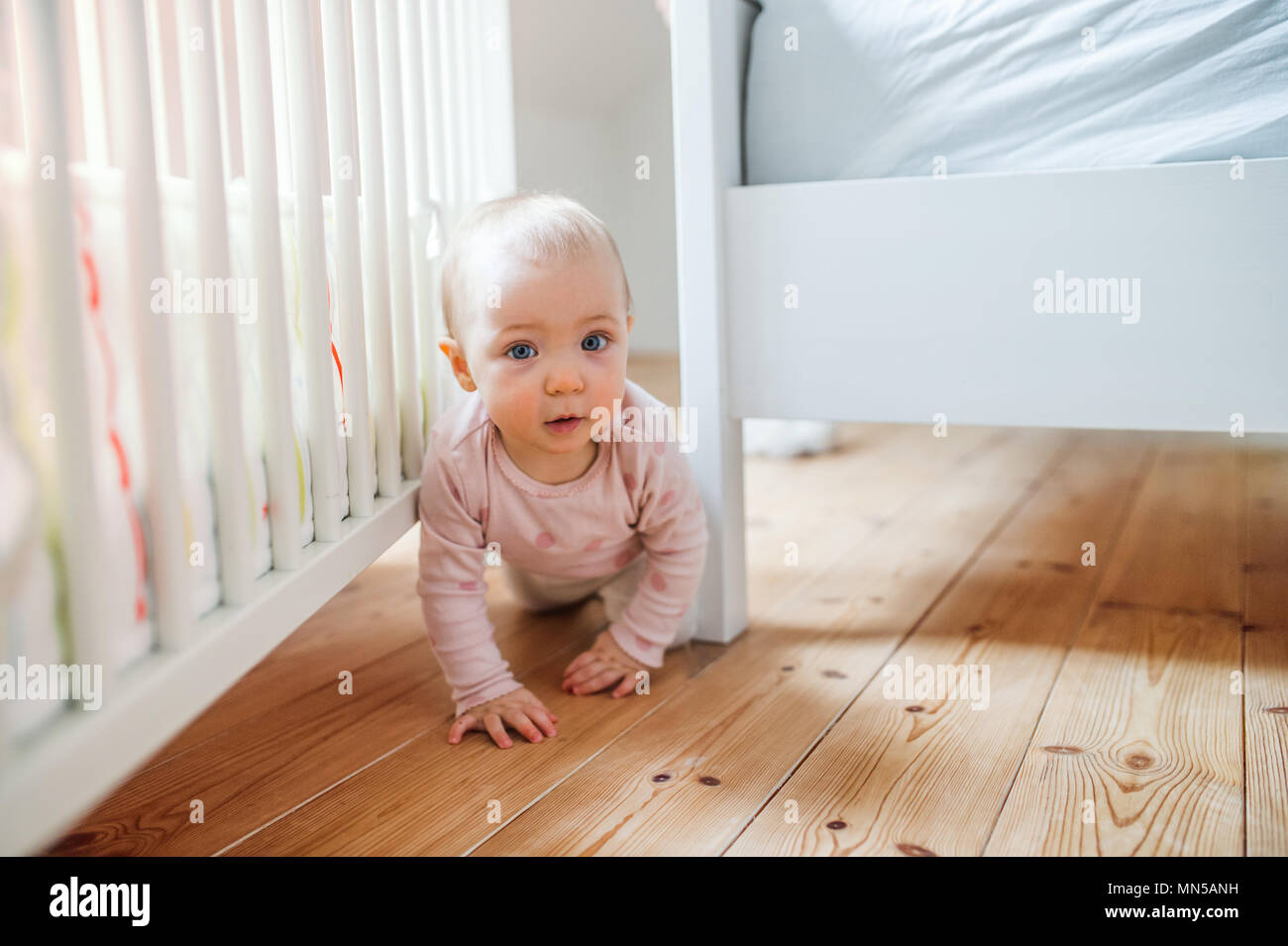 A toddler child crawling on the wooden floor in bedroom at home. - Stock Image
