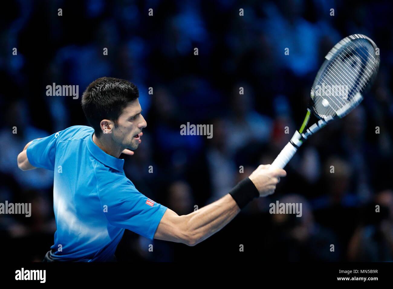 Novak Djokovic vs Tomas Berdych during Day 4 of the 2015 Barclays ATP World Tour Finals - O2 Arena London England. 19 November 2015 - Stock Image