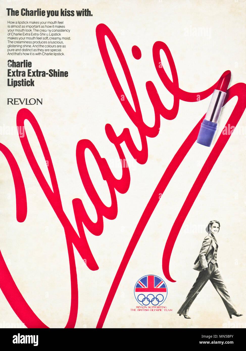 1980s original old vintage advertisement advertising Charlie lipstick by Revlon in English magazine circa 1980 - Stock Image