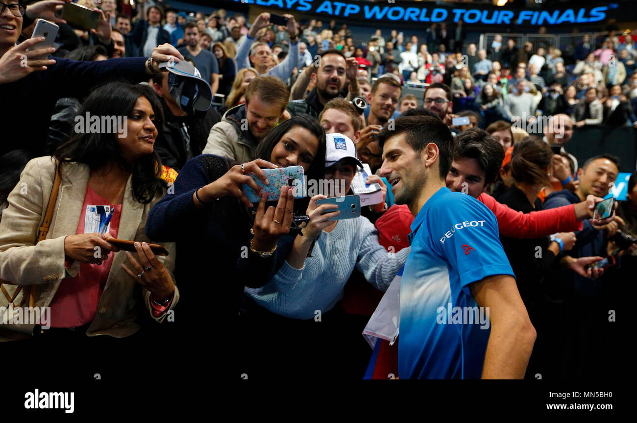 Novak Djokovic signs autographs during Day 4 of the 2015 Barclays ATP World Tour Finals - O2 Arena London England. 19 November 2015 - Stock Image