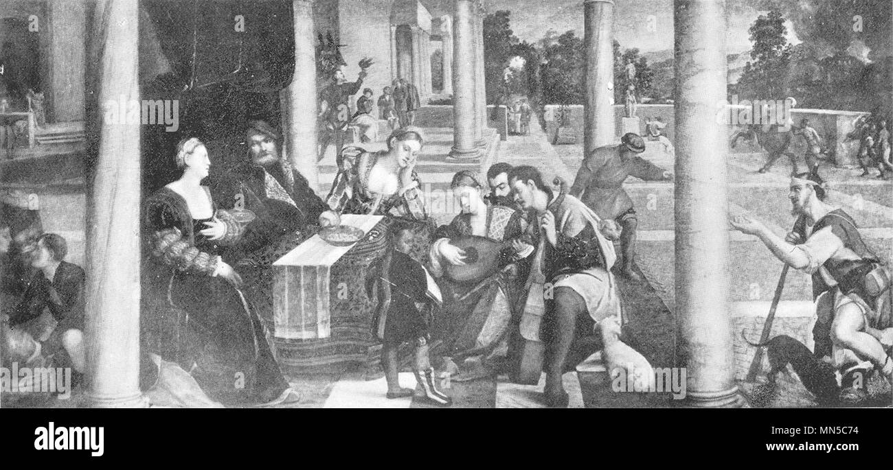 VENICE. Accademia-The rich man's Feast 1930 old vintage print picture - Stock Image