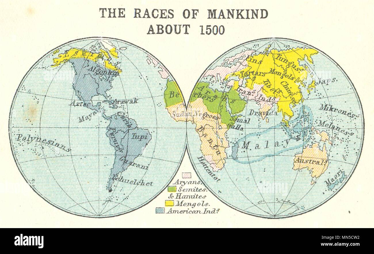 World The Races Of Mankind About 1500 Small Map 1912 Old Antique