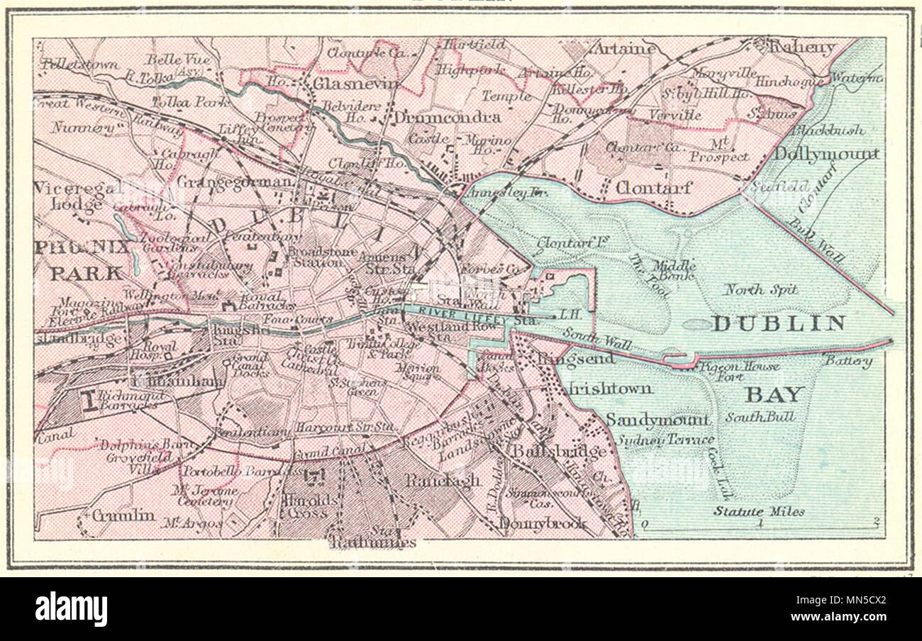 Small Map Of Ireland.Ireland Dublin Small Map 1912 Old Antique Vintage Plan Chart Stock