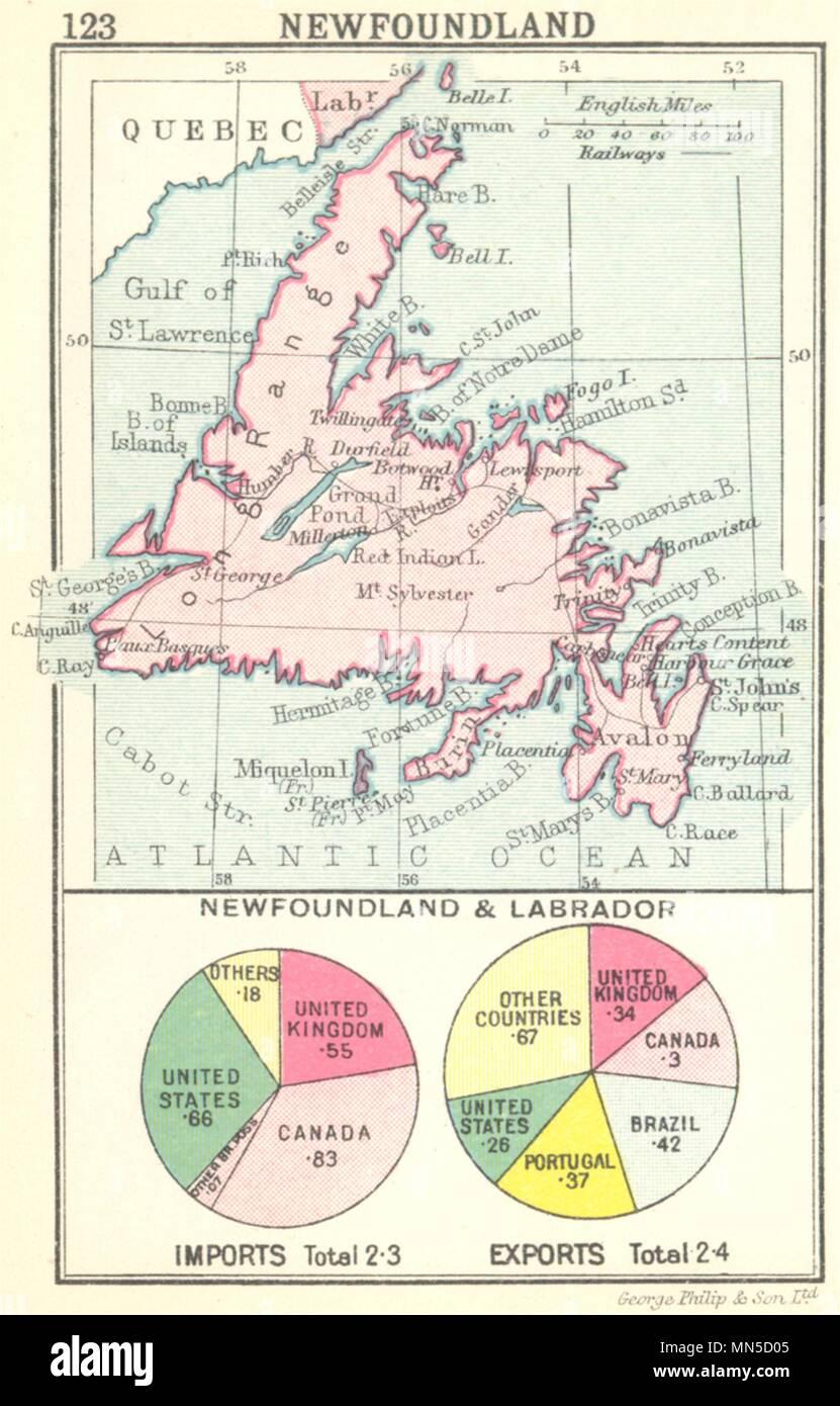 Map Of Canada Newfoundland.Canada Newfoundland Newfoundland Labrador Small Map 1912 Old