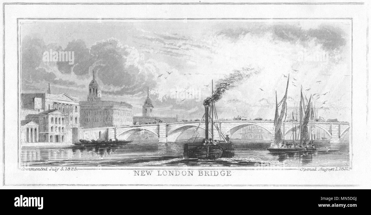 LONDON. New London Bridge. DUGDALE 1845 old antique vintage print picture - Stock Image