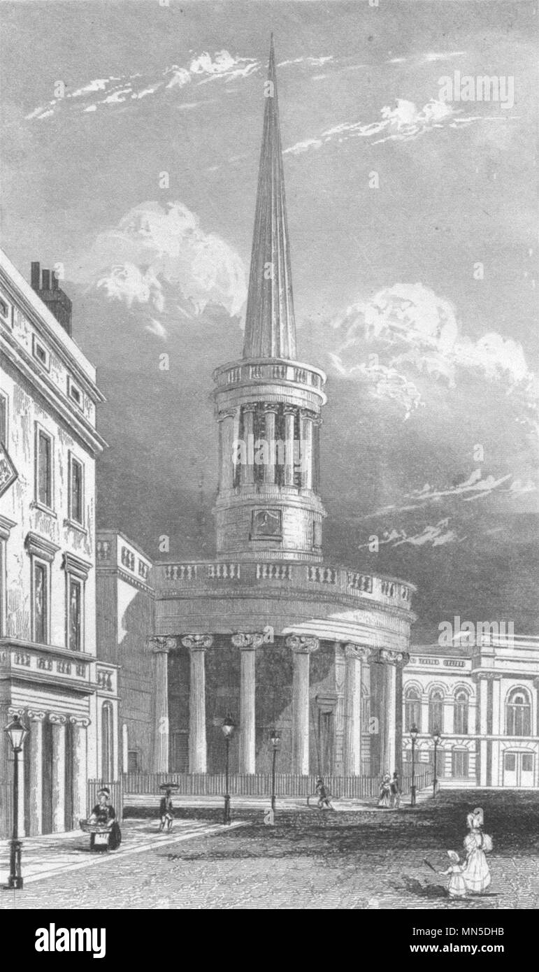 LONDON. All-Souls Church, Langham Place, London. DUGDALE 1845 old print Stock Photo