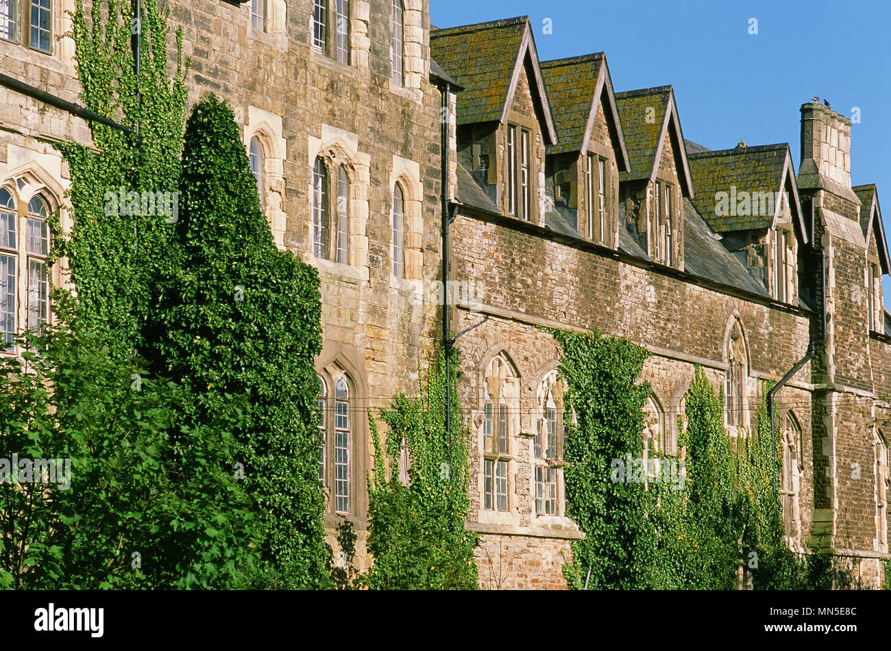The Victorian Gothic exterior of the Holy Child English language school in Magdelan Road, St Leonards On Sea, Hastings, East Sussex UK - Stock Image
