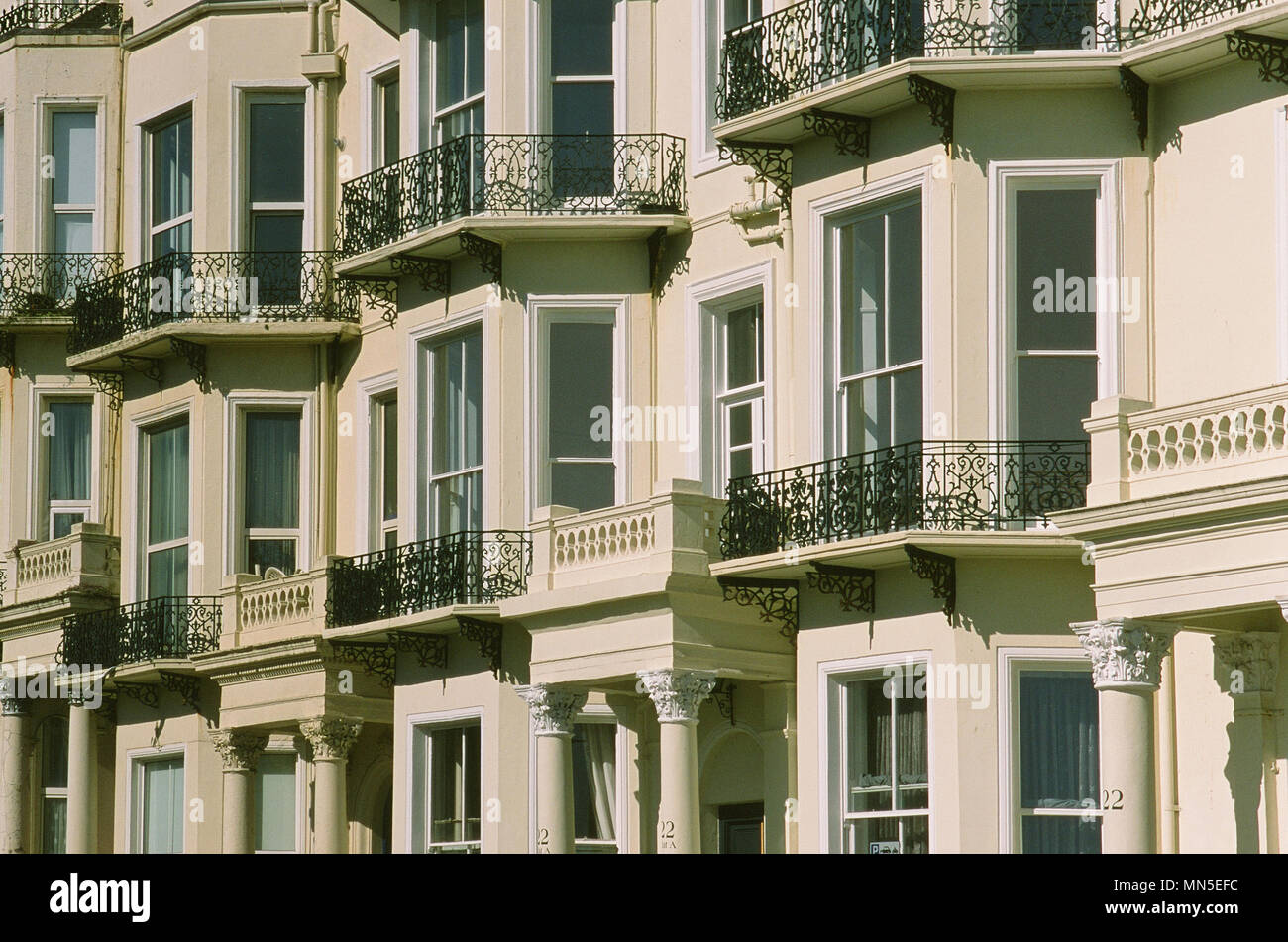 Victorian terraced house fronts at Warrior Square, St Leonards On Sea, Hastings, East Sussex UK - Stock Image