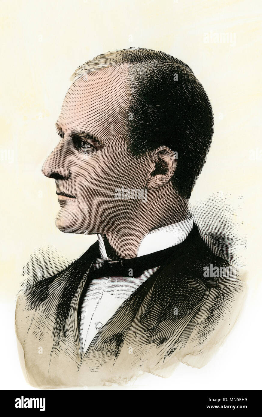 Eugene V. Debs, President of American Railway Union, 1880s. Hand-colored woodcut - Stock Image