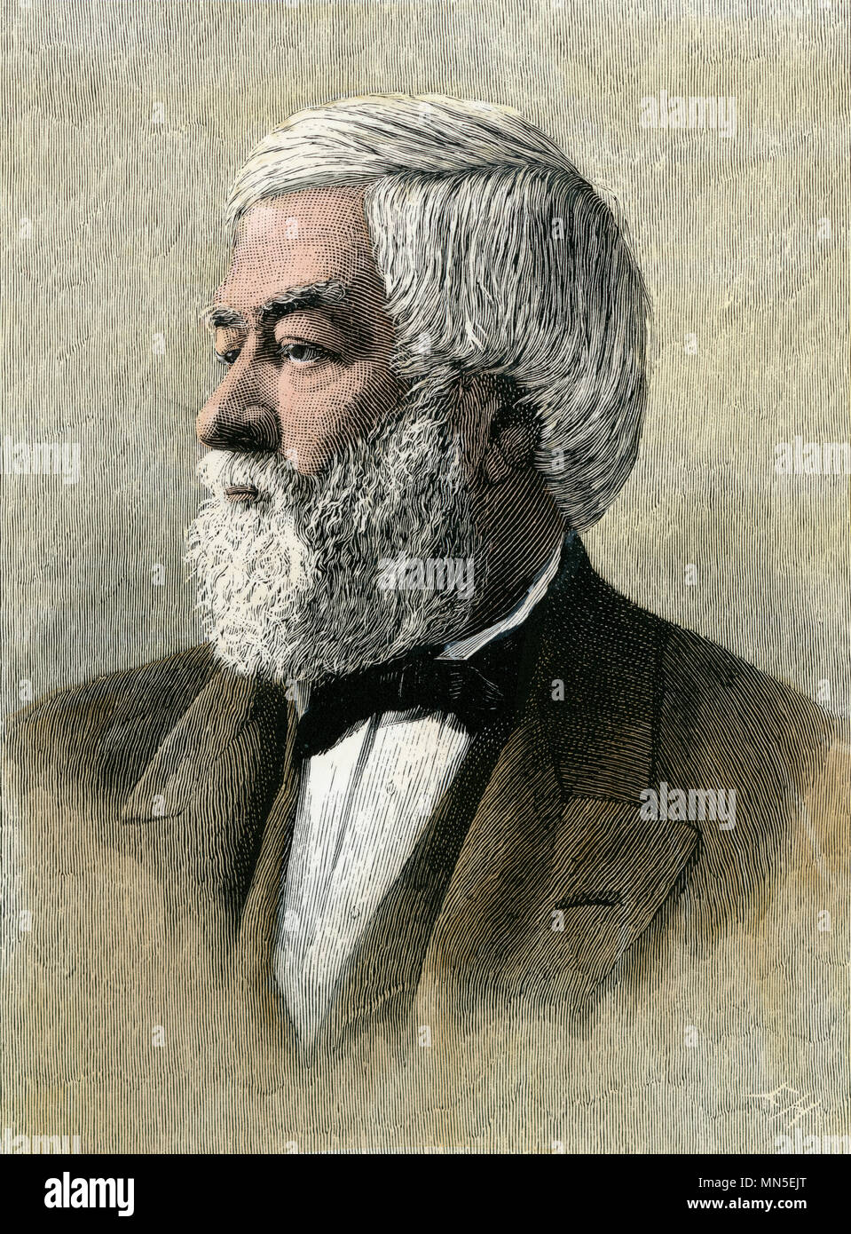 Cassius Marcellus Clay, Southern abolitionist and US diplomat. Hand-colored woodcut - Stock Image