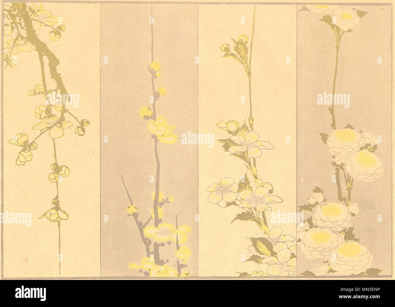 JAPAN. Studies of Flowers. By Hokusai 1890 old antique vintage print picture - Stock Image