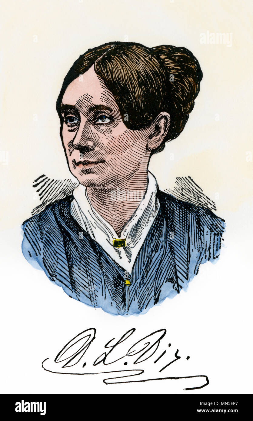 Dorothea Dix, with autograph. Hand-colored woodcut - Stock Image