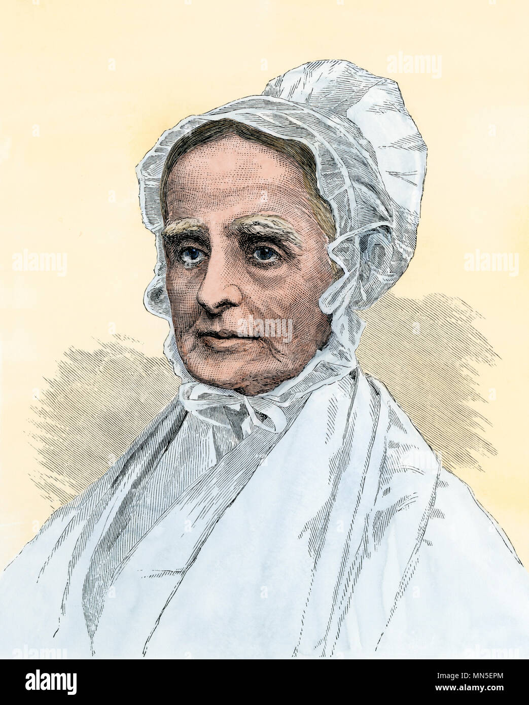 Lucretia (Coffin) Mott, American social reformer. Hand-colored woodcut - Stock Image