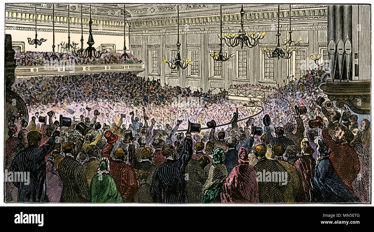 Rev. Henry Ward Beecher defending the Union cause in Exeter Hall, London, 1863. Hand-colored woodcut - Stock Image