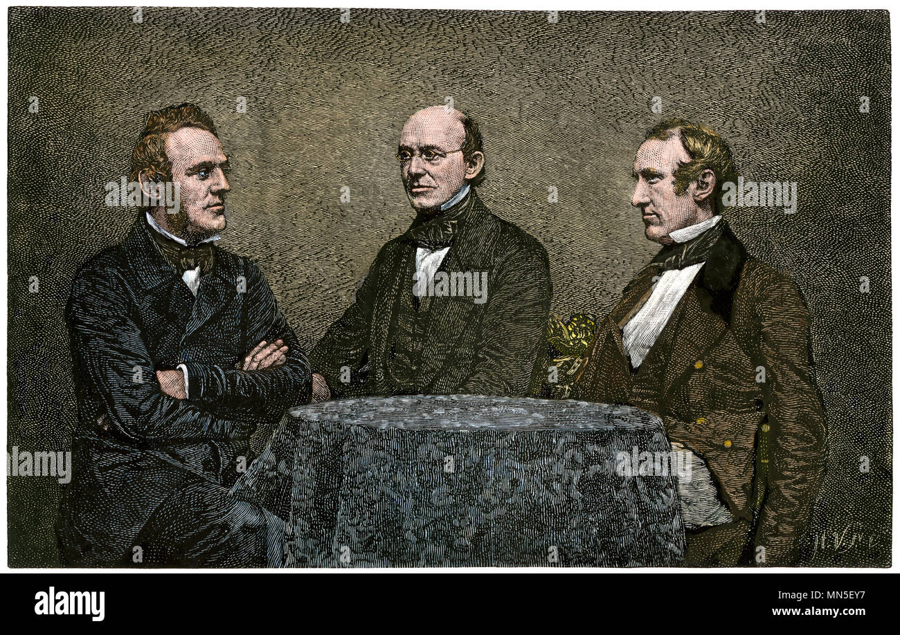 Abolitionists George Thompson, William Lloyd Garrison, and Wendell Phillips conferring, 1851. Hand-colored woodcut from a daguerrotype - Stock Image