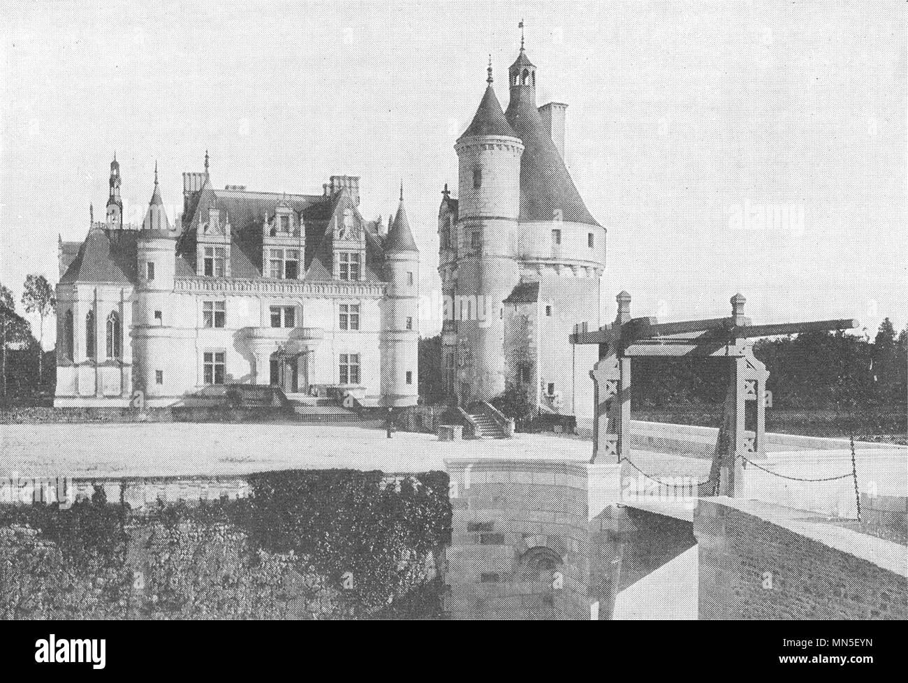 INDRE- ET- LOIRE. Pont- Levis, Donjon Entrée Chateau Chenonceaux 1900 print - Stock Image