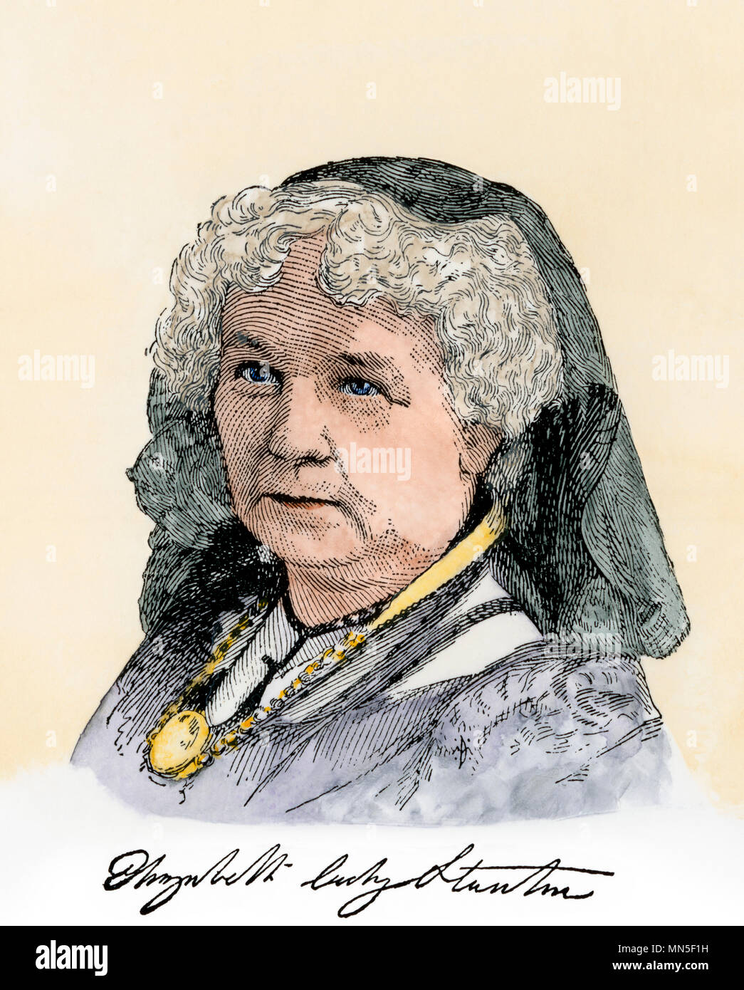 Elizabeth Cady Stanton, with her autograph. Hand-colored woodcut - Stock Image