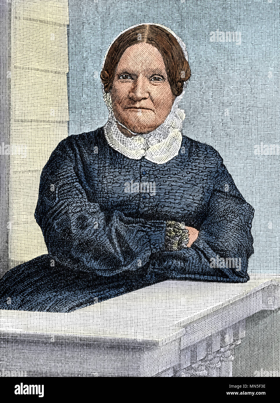 Lydia Maria Child portrait. Digitally colored woodcut - Stock Image