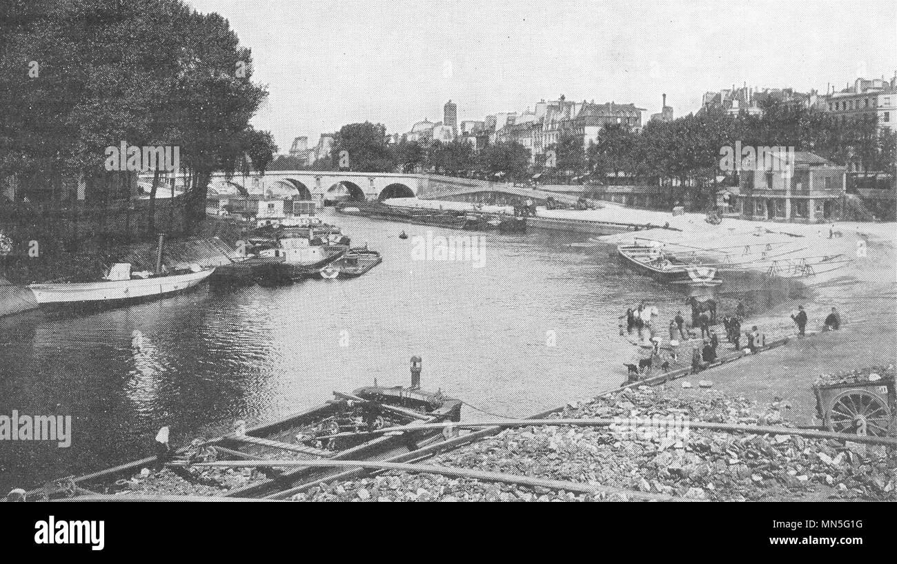 PARIS. La Seine au Quai D'anjou. A Gauche, L'ile Saint- Louis 1900 old print - Stock Image